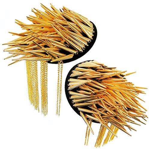 Paar Punk Schulterklappen Nieten Achselstücke Schulterstücke Spikes Shoulder Board Gothic mit Quaste Vintage Karneval Fasching Kostüm Dekoration (x2 Stücke) (Gold)