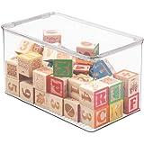 mDesign Bac à jouet – Rangement jouet avec couvercle pour des jouets rangés sur une étagère ou sous le lit - Rangement chambr