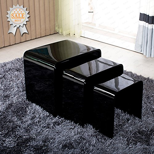 Schindora high gloss nest of 3 table black coffee table side table living room nesting tables for High gloss black living room furniture