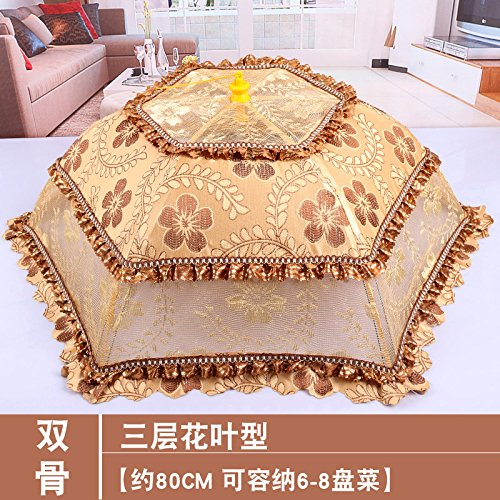 Summer household circular food cover, folding food cover, dining table cover, food cover, flies, leftovers, umbrellas and vegetables cover.,Three layer spliced flower leaf type about diagonal 78cm edge 68cm