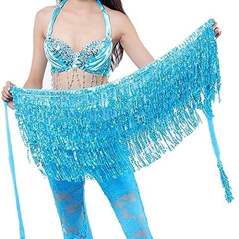 Best Dance Belly Dance Dancer Costume Sequin Tassel Fringe Hip Scarf Belt Waist Wrap Skirt Light