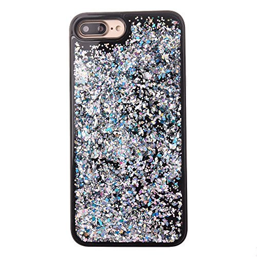 Custodia iPhone 7 Plus, Aohro Ultra Sottile Morbido TPU Bumper Gel e Bling Glitter Strass Interno Protettiva Custodia Brillantini Resistente Back Case Caso per iPhone 7 Plus 5.5pollice-Blu Diamante Bianco