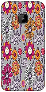 Snoogg Seamless Texture With Flowers And Butterflies Endless Floral Pattern Designer Protective Back Case Cover For HTC M9