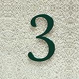 Colours-Manufaktur Hausnummer Nr. 3 - Schriftart: Klassisch - Höhe: 20-30 cm - viele Farben wählbar (RAL 6005 moosgrün (grün) glänzend, 20 cm)