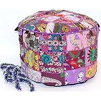 GANESHAM HANDICRAFT Indischen Vintage-osmanischen Pouf, Patchwork osmanischen, Wohnzimmer Patchwork Fuß Hocker Cover, Deko Handgefertigt Home Stuhl Abdeckung Indischen Sitzsack