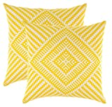 TreeWool Dekorativer Kissenbezug (40 x 40 cm, Gelb) Kaleidoskop Design 100% Baumwolle (2er Pack)