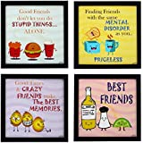 Indianara 4 Piece Set Of Framed Wall Hanging FRIENDS QUOTE Decor(1165) Art Prints 8.7 Inch X 8.7 Inch Without Glass