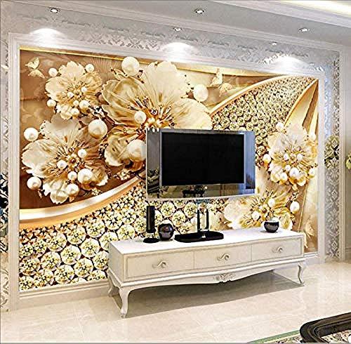 Foto Benutzerdefinierte Tapete 3D Geprägte Goldschmuck Blumenwand Wohnzimmer TV Hintergrundbild Luxus Dekoration Hohe Qualität Drucken-450x300cm