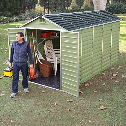 6 X 12 Green Skylight Plastic Apex Storage Shed By