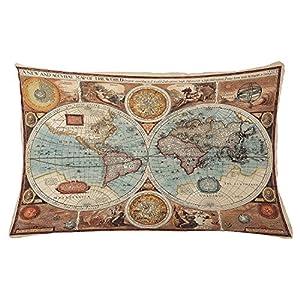 Juchenjixie – Funda de cojín vintage con diseño de mapa del mundo (ilustración de la figura histórica), color azul y naranja