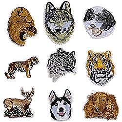 Gosear 9 pz Bello Animale Ricamo Fai Vestiti Patch Tigre Leone Leopardo Lupo Patch per T-Shirt Jeans Panno Borse