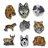 9 Piezas Parches para Ropa - Bordado de Animales Bricolaje Ropa Parches termoadhesivos Tigre León Leopardo Wolf Parches para la Camiseta Jeans Ropa Bolsas