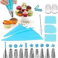 Douilles Pâtisserie, 20 Pièces en Acier Inoxydable DIY Kits, 10 Douilles, 2 poche à douille en silicone 2 Coupleurs, 3…