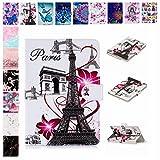E-Mandala Universal 10 Zoll Hülle Etui Flip Case Leder Wallet Cover Tablet PC Tasche mit Kartenfach Klapphülle Ledertasche Lederhülle - Eiffel Turm Paris