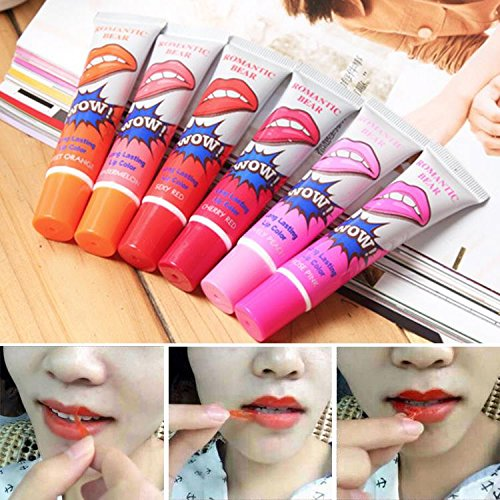 Generic cherry red : 1 pcs matte lipstick liquid lip tatoo pintalabios wow labiales peel off style my baby lips tint pack long lasting