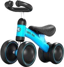 MAJOZ Kinder Laufrad 4 räder Spielzeug, Lernlaufrad Balance Bike Erst Geburtstag Geschenk Fahrrad Für Baby (Blau + Schwarz)