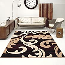 Tapiso Alfombra De Salón Moderna – Color Marrón Beige Diseño Floral – Varias Dimensiones S-XXXL 200 x 300 cm