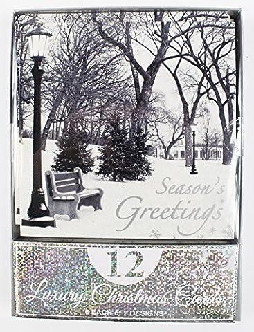 Weihnachten Karten Bumper 12PK Luxus-Xmas Vers Geschenk 2Designs Snow Grüße Box