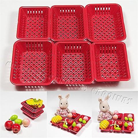 Odoria 1:12 Miniature 6PCS Red Plastic Baskets Set Dollhouse Kitchen Accessories