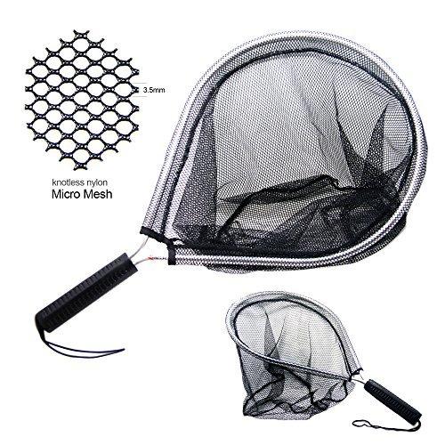 SAMS, retino da pesca in rete di nylon senza nodi, microrete e telaio in alluminio