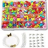 Ewparts 24 Arten Bunte Perlen Handwerk Perlen für Kinder DIY Armband, Perlenschnur, der Satz bildet, kultiviert Farben empfindlich, Farbe verbläßt Nicht Baby Spielzeug (Schleifmittel Mehrfarbig)