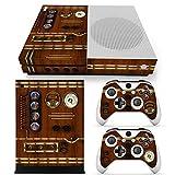 46 North Design Xbox One S Folie Skin Sticker Konsole Old Time Machine Clock aus Vinyl-Folie Aufkleber Und 2 x Controller folie & Kinect Skin