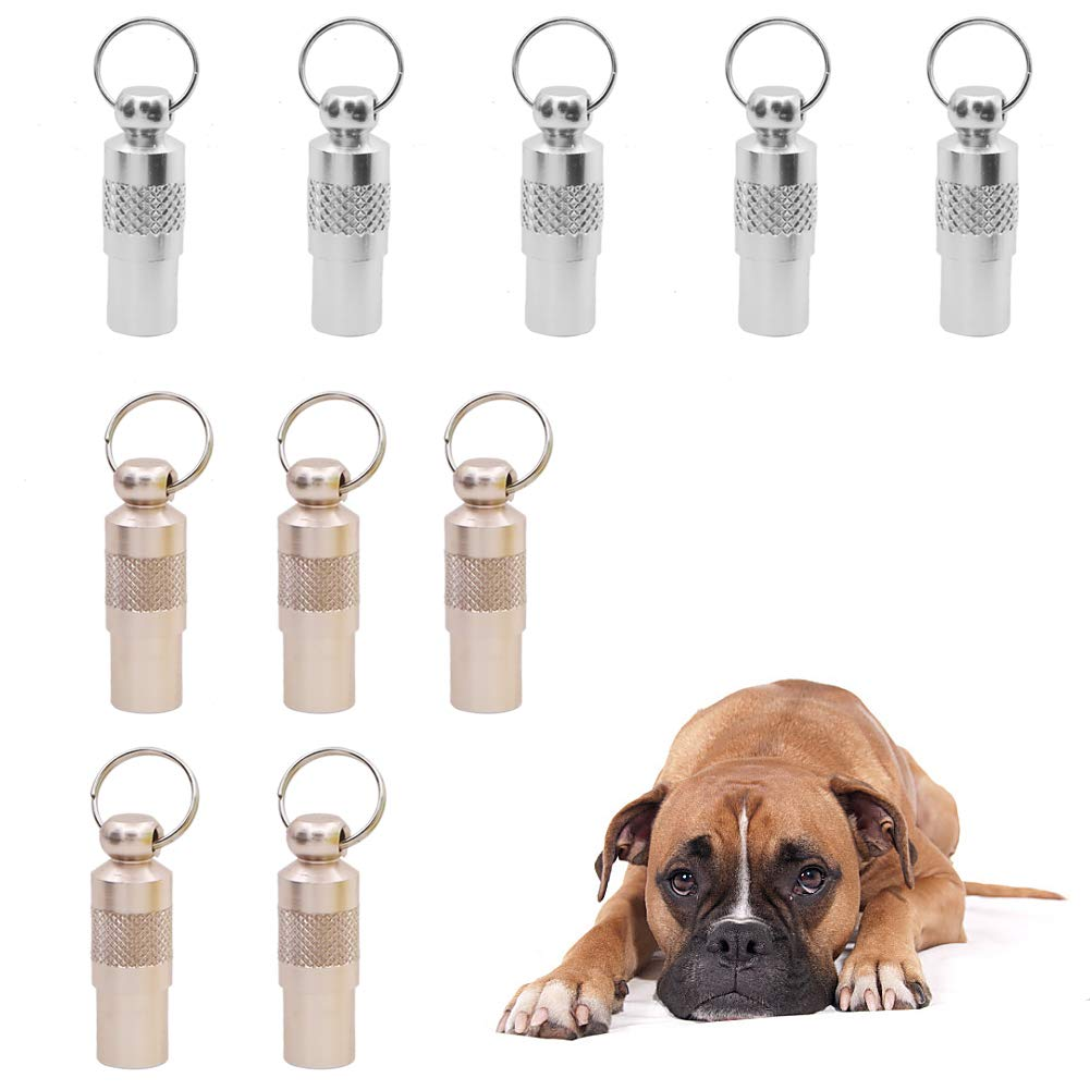 10 Pieces Anti-Lost Pet ID Tube Tag Barrel,Stainless Steel Pet Dog Cat Puppy Address Name Label Tag Barrel Collar Tube…