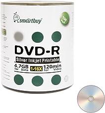 Smart Buy 100 Pack DVD-R 4.7gb 16x Silver Printable Inkjet Blank Record Disc 100 Disc 100pk