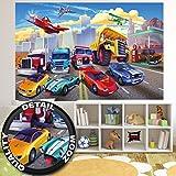 Fototapete für Kinderzimmer Autorennen Wandbild Dekoration Flugzeug Cars Abenteuer Feuerwehr Sportwagen Auto Cabrio Comic | Foto-Tapete Wandtapete Fotoposter Wanddeko by GREAT ART ( 210x140 cm)