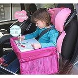 Yumsum Voyage Plateau pliable, étanche Table de siège auto avec ceinture de sécurité pour enfants Snack Play Organiseur de planche à dessin