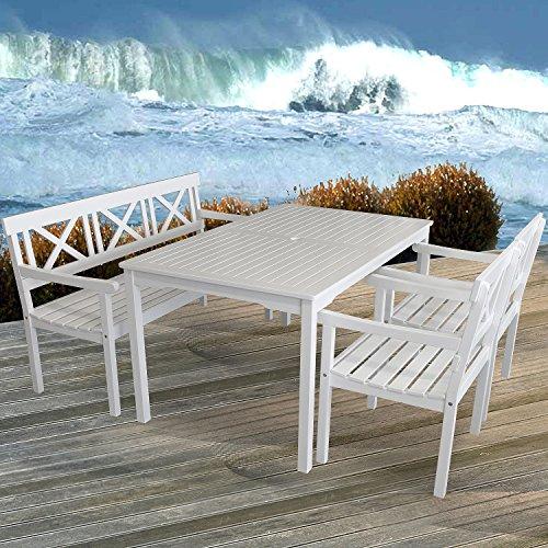 4-teilige Gartengarnitur Gartentisch 150x90cm + 3-Sitzer Gartenbank Sitzbank + 2x Gartensessel aus FSC zertifiziertem Eukalyptusholz Sitzgruppe Sitzgarnitur - 8