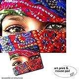 Geschenkset: 1 Poster Kunstdruck (50x40 cm) + 1 Mauspad (23x19 cm) - Frauen, Arabische Augen