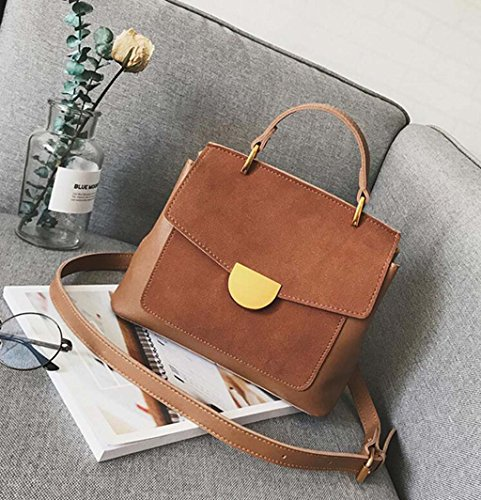 HZTDDA Korean Fashion Handtaschen Wild Carry Bag Retro Matte Schulter Messenger-Tasche Grün, Blau, Schwarz, Braune Kleine Quadratische Tasche,Brown -