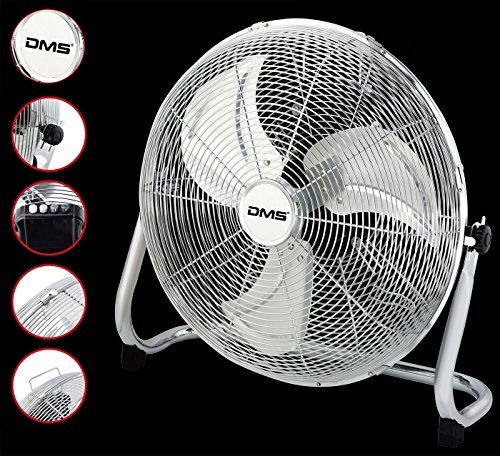 DMS® MTV-45 Windmaschine Boden Ventilator 51cm 140W Chrom Standventilator Tischventilator (Tischventilator Chrom)