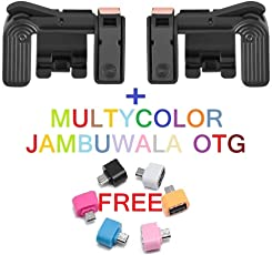 Jambuwala PUBG Mobile Game Controller, 1 Pair Sensitive Game Triggers for PUBG/Knives Out/Rules of Survival L1R1 Game Joysticks Gamepad for Android iOS Phones and One Multicolor Jambuwala OTG Free