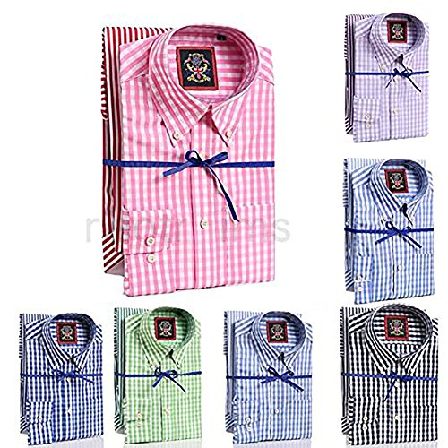 Two Long Sleeve Mens Shirts,Twin Pack Of Striped & Check Design, Same Colour Hue, Janeo British Apparel, Button Down Collar & Pocket, Oxford Style Fit. Work,Smart Weekender or Causal.