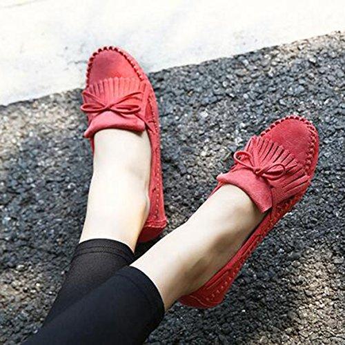 SUNAVY Damen Schmetterling Mokassins Ballerinas,2017 New Mädchen Komfortable Bow Loafers Slippers Halbschuhe Flach Fahren Schuhe(EU 34--EU 43) Rosa
