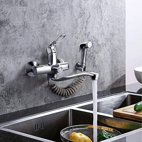 Wasserhahn Küche, DALMO Wandarmatur für Küche, mit Spritzpistole und 2 Wasserstrahlarten, schwenkbarem 360°-Auslauf, Messing-Grundköper, Chrom, Wandmontage Wasserhahn, Einfache Montage Küchenarmatur