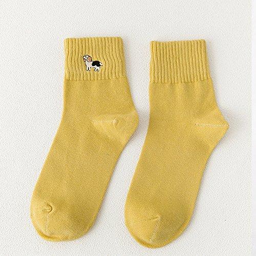 PinzhiFrauen Mädchen Schön Socken Damen Männer Baumwoll Socken Nettes (Gelb) (Socken Athletische Knöchel)