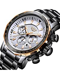 Orologi uomo,LIGE Cronografo Impermeabile Sportivo Militari Analogico al Quarzo orologio Inossidabile Big Face Data moda Casual Orologi da polso Oro rosa bianco