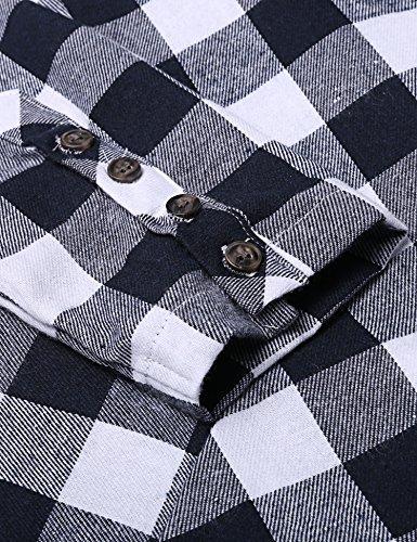 ANGVNS Damen Kariertes Hemdkleid Casual Kleid mit Umlegekragen Langarm Blau&weiß