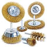 S&R Set 7 Spazzole Metalliche per Trapano per Ruggine Metallo Legno. Codolo 6 mm liscio. Professionali