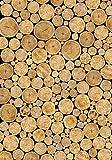 Wallario Wand-Bild 70 x 100 cm | Motiv: Holzstapel rund | Direktdruck auf 5mm starke Hartschaumplatte | leichtes Material | günstig