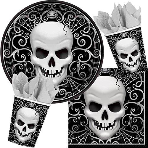 Procos/Carpeta 33-TLG. Party-Set * Totenkopf * für Halloween mit Teller + Becher + Servietten + Deko | Mottoparty Motto Grusel Horror Fright Night Totenköpfe