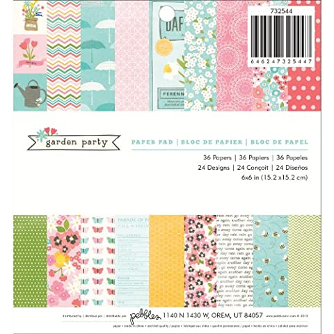 American Crafts Pebbles Paper Pad 6-inch x 6-inch 3Garden Party