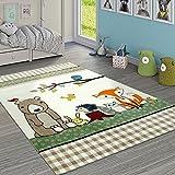 Paco Home Kinderteppich Karo Muster Wald Tiere Bär und Fuchs Beige Creme Grün, Grösse:120x170 cm