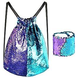 Kuuqa Sequin Mermaid borsa e bracciale con coulisse zaino sportivo Magic reversibile Sequin glitter Wristband palestra borsa a tracolla per donne bambina bambino feste di compleanno regali