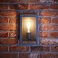 Aplique LED Mural con Vidrio IP44 Estructura Color Antracita Look Industrial – Jardín Baño Resistente al
