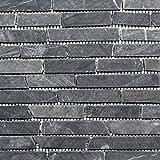 Mosaik Fliese Marmor Naturstein schwarz Brick Nero Marquina für BODEN WAND BAD WC DUSCHE KÜCHE FLIESENSPIEGEL THEKENVERKLEIDUNG BADEWANNENVERKLEIDUNG Mosaikmatte Mosaikplatte