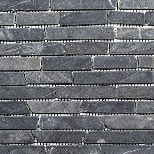 Mosaik Fliese Marmor Naturstein schwarz Brick Nero Marquina für BODEN WAND BAD WC DUSCHE KÜCHE FLIESENSPIEGEL THEKENVERKLEIDUNG BADEWANNENVERKLEIDUNG Mosaikmatte Mosaikplatte (Brick-wand-fliesen)